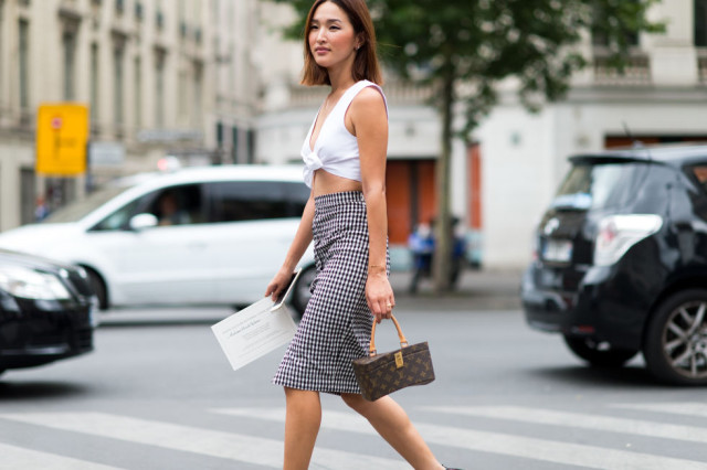 paris-couture-gingham-pencil-skirt-crop-top-summer-outfit-party-night-out-fashion-week-street-style-via-elle.com