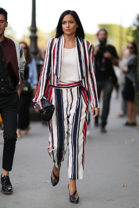 red white and blue, striped pants suit, summer work outfit, fourth of july, via elle