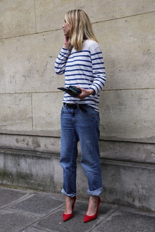 red-white-blue-striped-tee-boyfriend-jeans-weekend-casual-via-la cool & chic