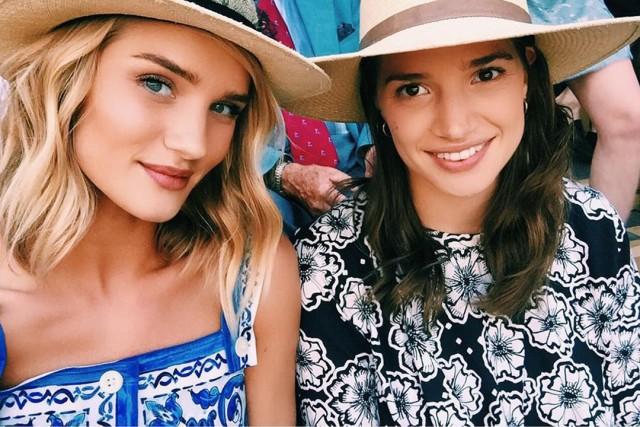 rosie-huntington-whiteley-hats-summer-printed-dress-wimbledon-sisters-via-instagram