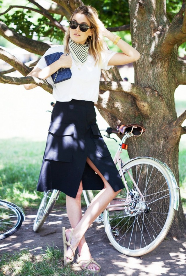 scarf-neck-wrap-skirt-swhite-tee-sandals-summer-work-outfit-via-camille-over the rainbow
