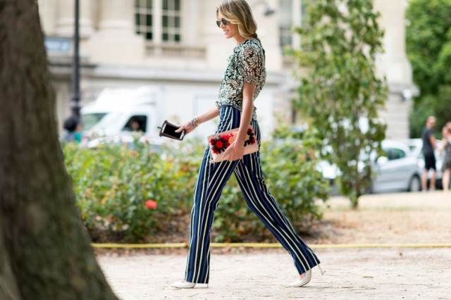 striped-pants-mixed-prints-leaf-print-blouse-summer-work-style-paris-couture-fashion-week-via-getty