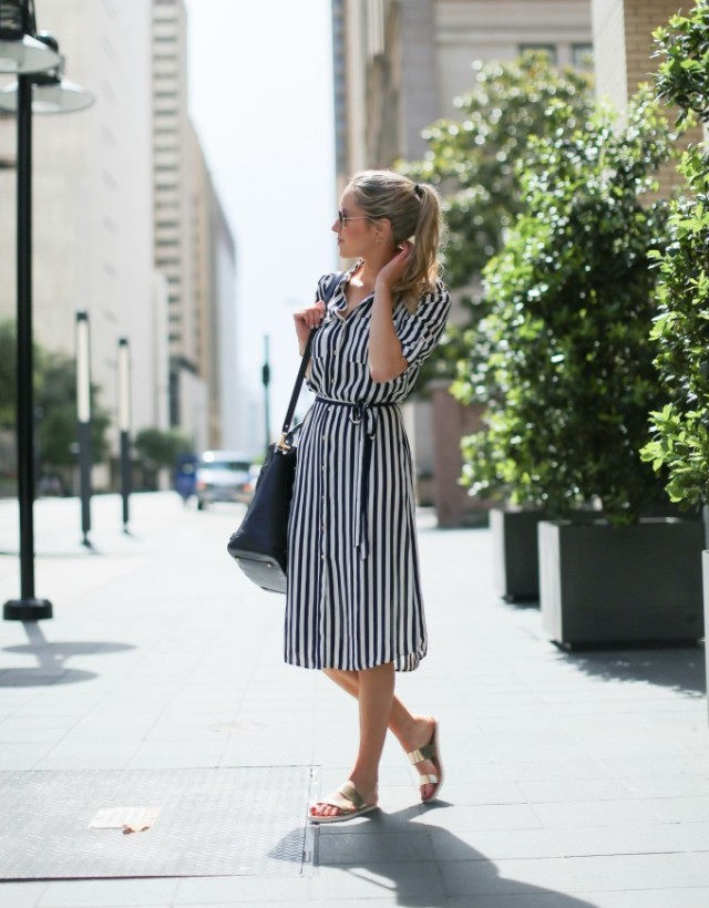 striped shirt dress, gold metallic sandals, summer work outfit, hamptons, bbq, via memorandum.com