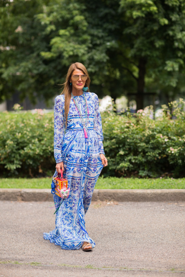summer-boho-printed-maxi-dress-feather-necklace-statement-earrings-wedding-party-shower-hamptons-via-getty