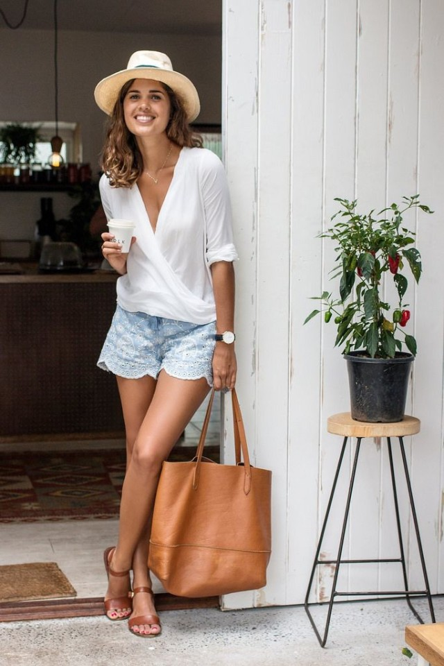 summer-hamptons-weekend-outfit-hat-shorts-scalopped-eyelet-shots-wrap-top-sandals-tote-via-a pair and a spare