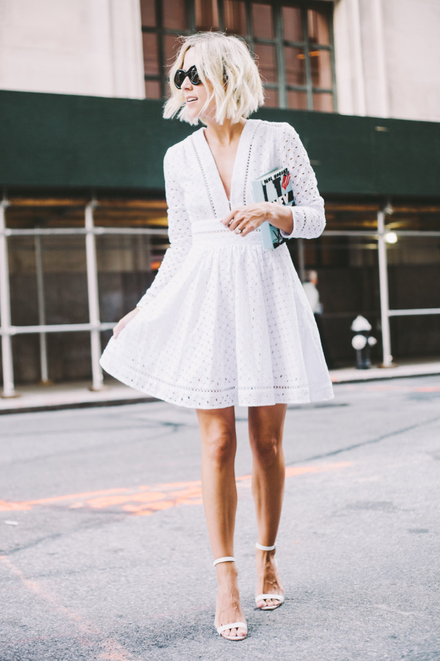 summer-outfit-party-date-night-going-out-eyelet-bell-sleeve-lwd-little-white-dress-via-damsel in dior