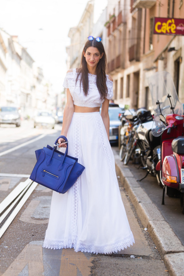 summer-party-bbq-all-white-maxi-skirt-off-the-shoulder-top-crop-top-pool-party-hamptons-skirt-set-boho-blue-celine-bag-via-getty