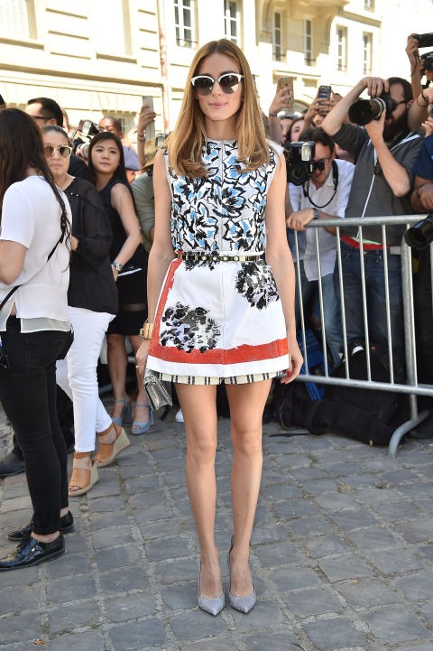 summer-style-mixed-prints-florals-bold-florals-retro-70s-olivia-palermo-summer-dress-printed-dress-shorts-paris-couture-fashion-week-via-getty
