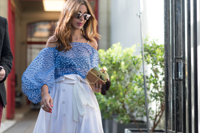summer-style-off-the-shoulder-shirt-blouse-white-skirt-paris-couture-fashion-week-via-tyler-joe-elle.com