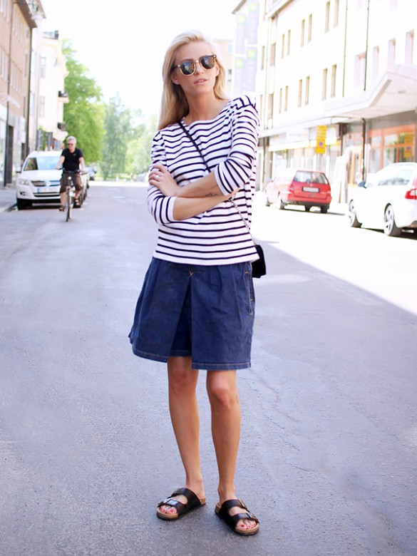 summer-weekend-outfit-striped-shirt-stripes-denim-mini-skirt-birks-via-the fashion eaters