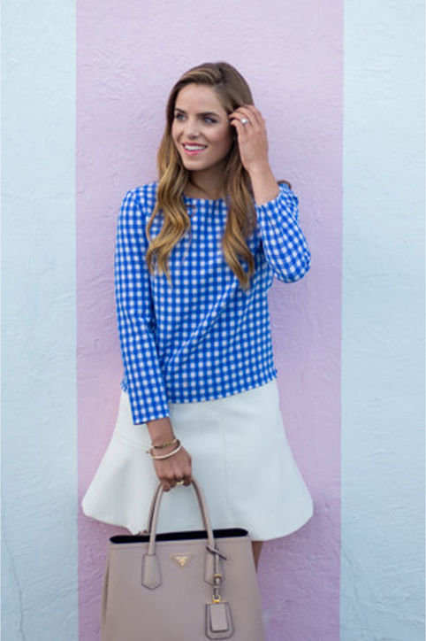 summer-work-outfit-blue-gingham-blouse-white-mini-skirt-shower-brunch-via-gal meets glam