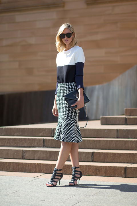 summer-work-outfit-color-block-huodstooth-graphic-print-pencil-midi-skirt-peplum-ruffle-skirt-cage-heels-via-hbz