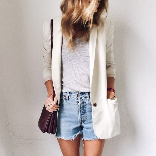 cutoffs, grey tee, white blazer, summer weekend date night night out outfit