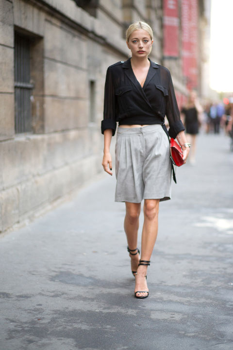 wrap-blouse-work-shorts-bermuda-shorts-clutch-heels-paris-couture-fashion-week-via-hbz-caroline-vreeland