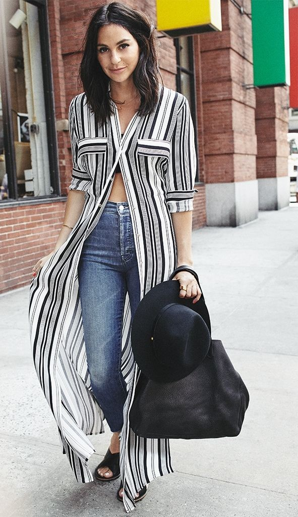 shirt dress, stripes, jeans, fall outfit