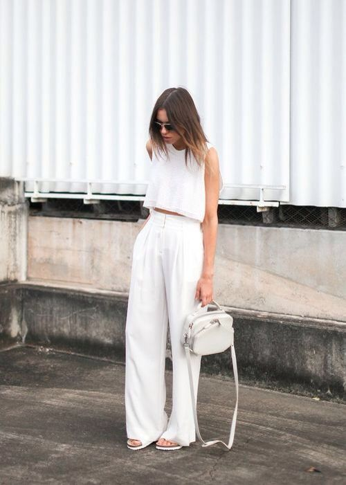 summer whites, all white, wide leg pants, crop top