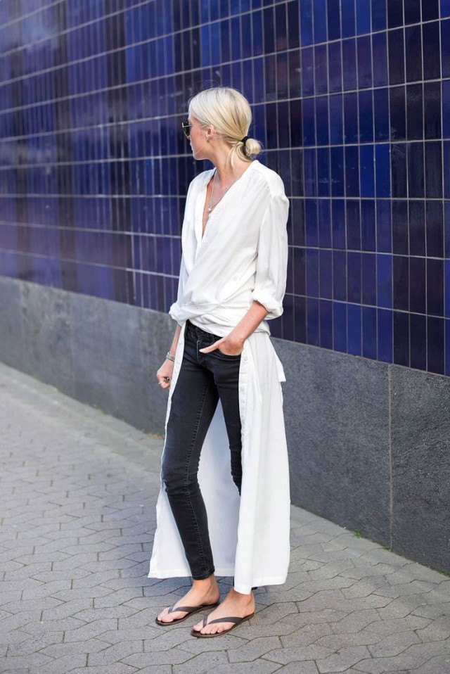 black and white, shirt dress, black skinnies, sandals, fall outfit, shirt dress, style hack