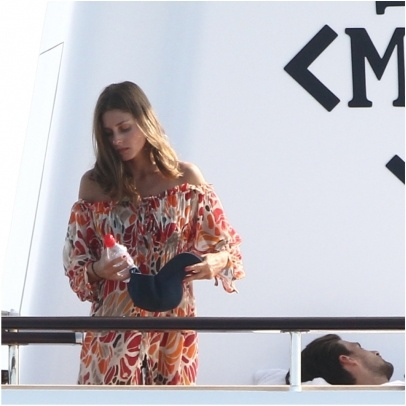 olivia palermo, yacht, sundress, boat, summer vacation, jetsetter style, vacation outfit, boat, sailing, coverup, cover up, off the shoulder dress, printed dress