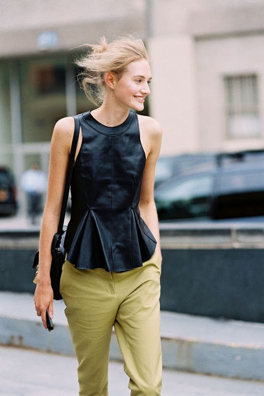 army pants, black leather peplum top, fall outfits, transitional dressing