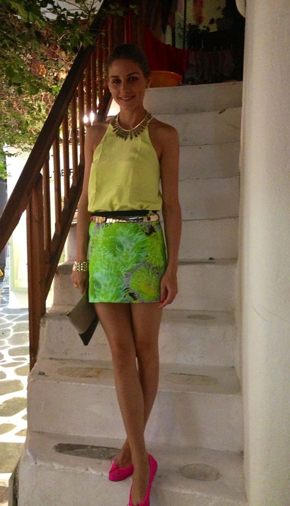 olivia palermo, yacht, sundress, boat, summer vacation, jetsetter style, vacation outfit, boat, sailing, neon mini skirt, summer going out outfit, summer party, vacation outfit