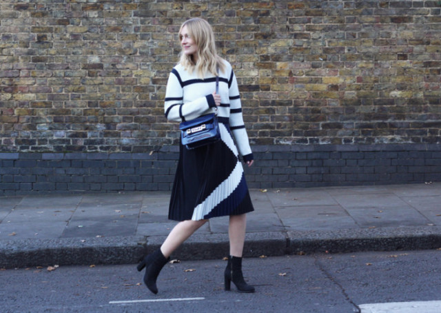 sweaters and skirts, fall winter outfit, , Blame-It-On-Fashion-Marie-Tibi-Resort-Sailor-Sweater-Maritime-Border-Pleat-Skirt-700x497