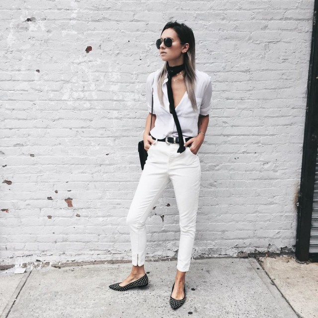 western belt, white jeans, black and white, skinny scarf