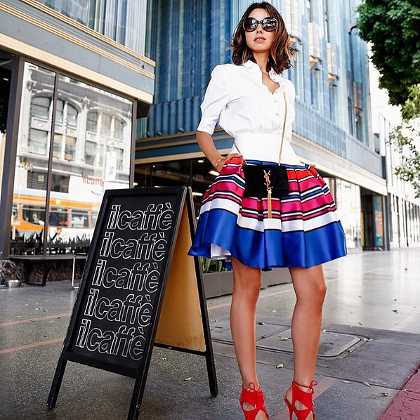 pleated skirt, primary colors, knee skirt, a-line skirt, red sandals, white oxford, mini bag, sunglasses, summer fall work outfit, going out, party