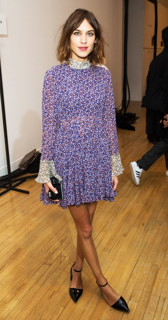 alexa-chung-floral-70s-print-dress-akle-strap-pointy-toe-flats-via-wireimage