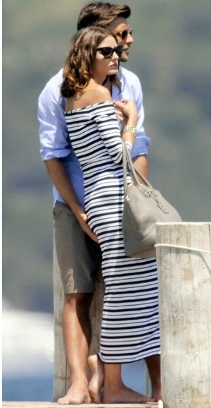 olivia palermo, yacht, sundress, boat, summer vacation, jetsetter style, vacation outfit, boat, sailing, striped dress, summer, striped off the shoulder midi dress,