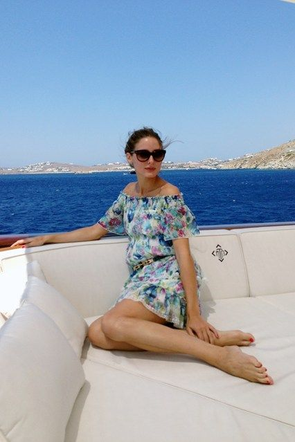 olivia palermo, yacht, sundress, boat, summer vacation, jetsetter style, vacation outfit, boat, sailing, off the shoudler, summer dress