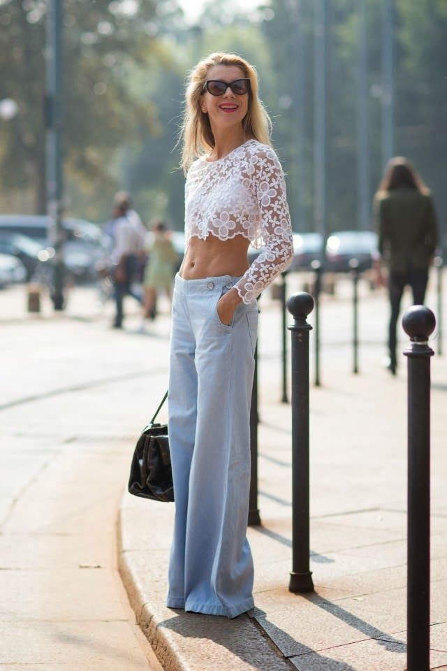 crop top, lace top, wide leg pants, natalie joos, summer outfit, giong out, night out, work to out