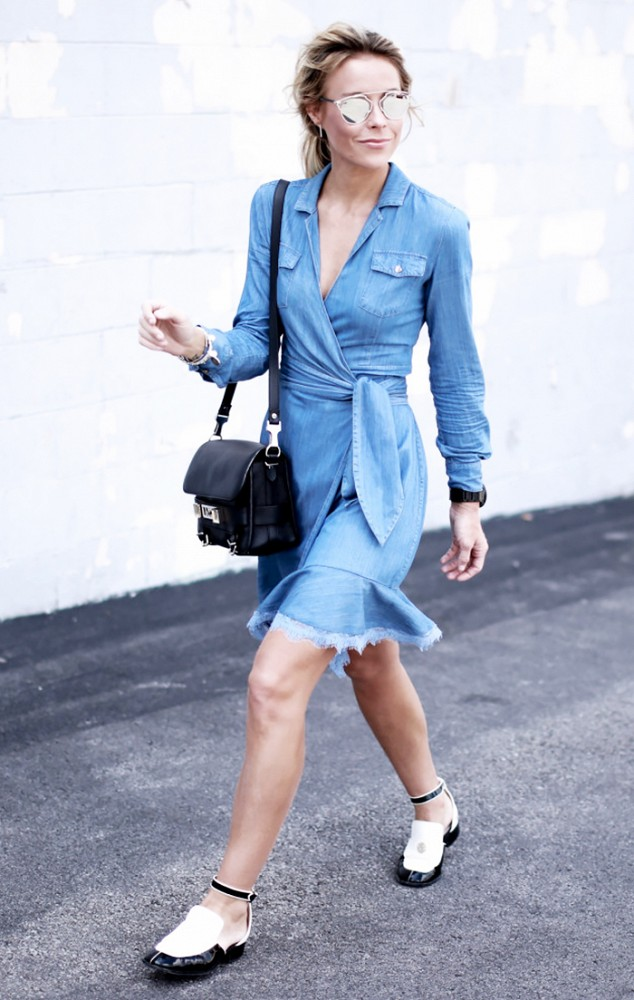 denim wrap dress, summer work weekend outfit