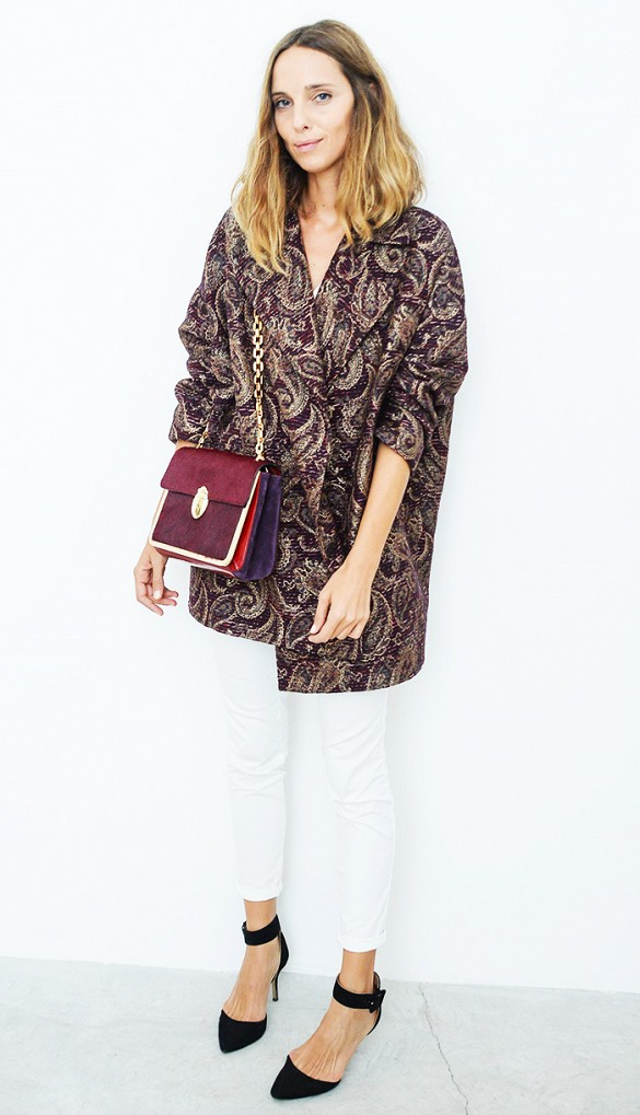 white jeans, statement printed jacket, brocade, tapestry prints