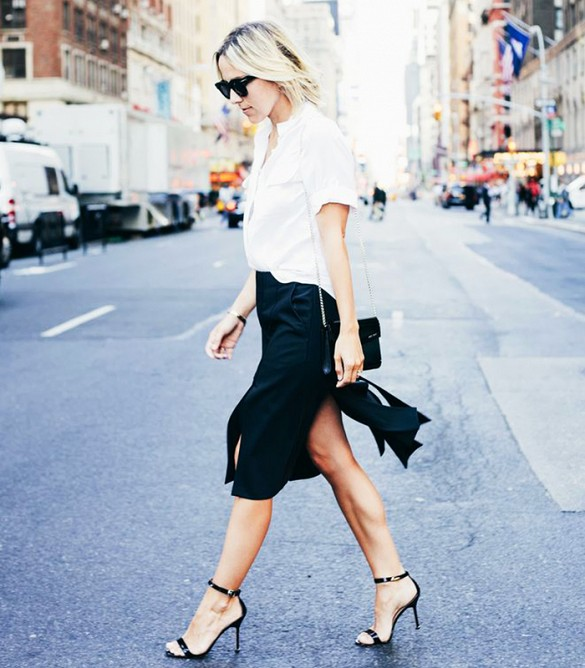 carwash pleats, black pencil skirt, white short sleeve oxford shirt, button up shirt, black sandals, going out, work, fall outfits, transitional dressing, damsel in dior