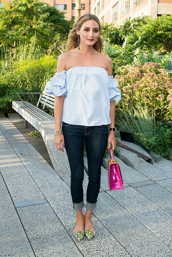 olivia palermo, off the shoulder shirt, jeans, date night, summer night out, august transition outfit