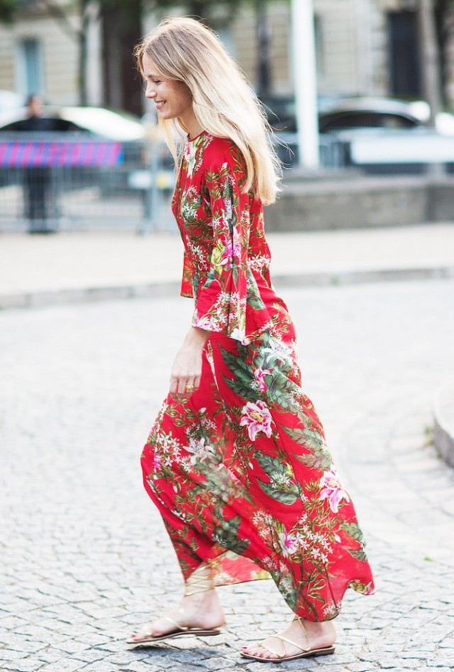 maxi dress red floral dress gold gladiator sandals via a love is blind