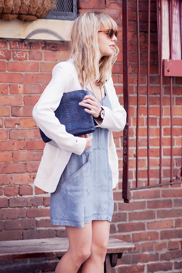 white-blazer-denim-dress-night-out-going-out-date-night-via-just another fashion blog