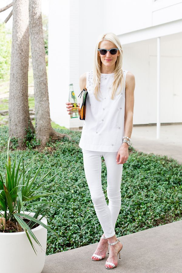 White Jeans Jeweled Tunic Summer Going Out Outfit
