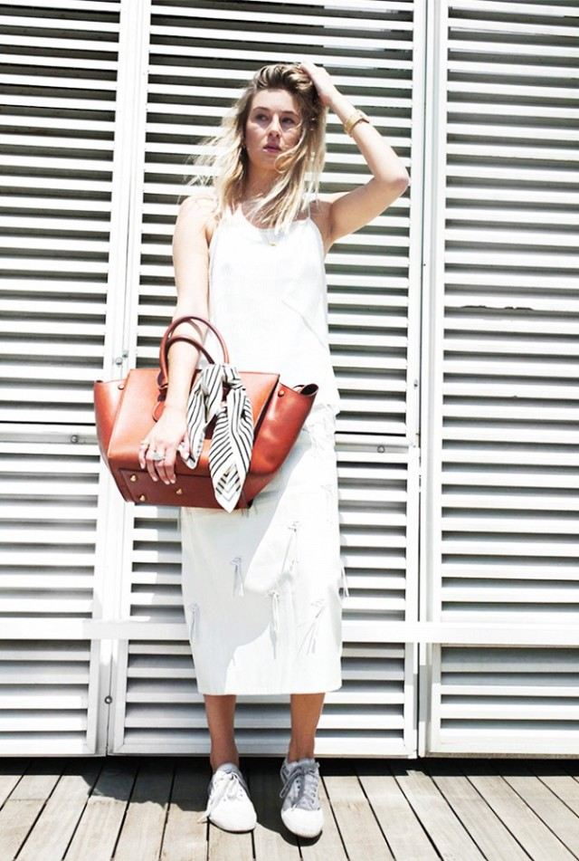 white-midi-cami-sneakers-and-skirts-bag-scarf-hacks-via-camille over the rainbow