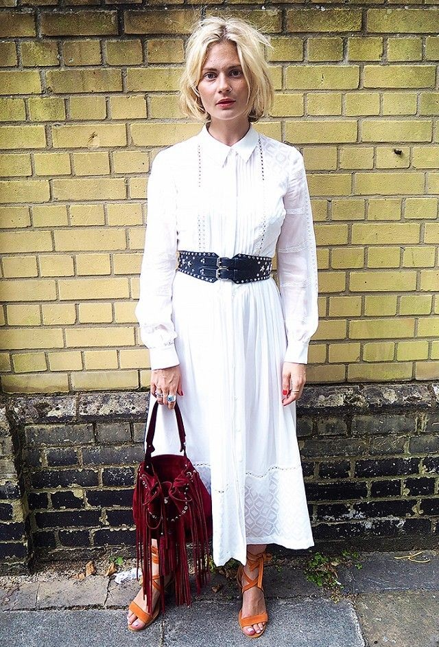 white shirt dress western belt little white dress fringe bag transitional dressing summer to fall transitional dressing