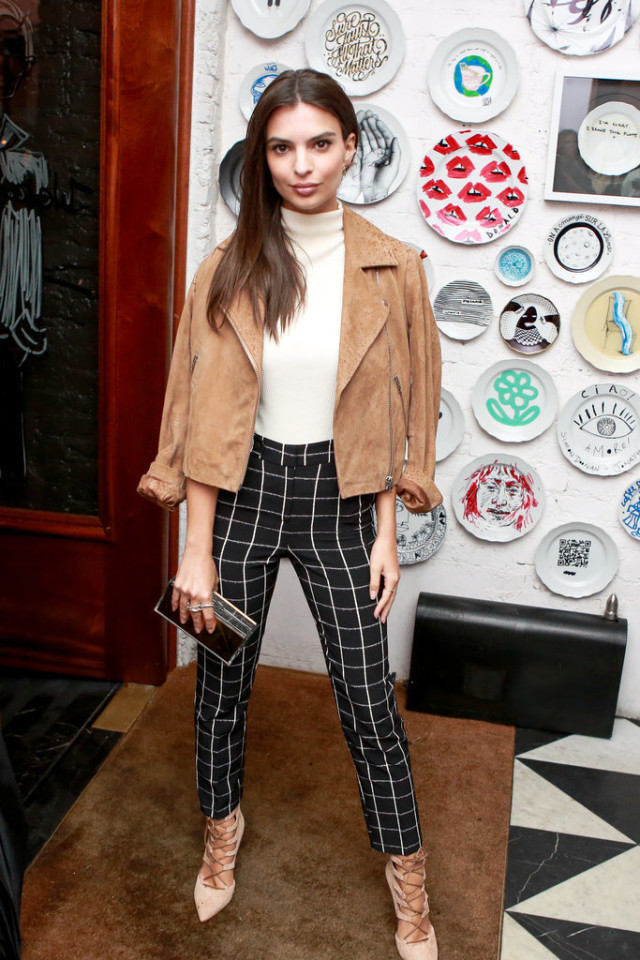Emily-Ratajkowski- mock neck funnel neck shirt - lace up heels - tan suede moto jacket - windowpane prints - black and white- fall neutrals - fall outfits via bfa.com