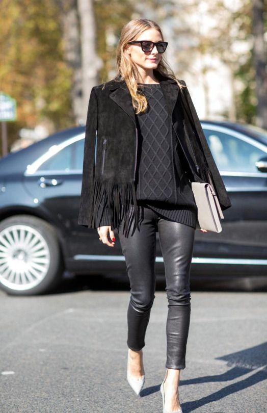 FRINGE-olivia-palermo-all-black-suede jacket leather skinnies pants fall