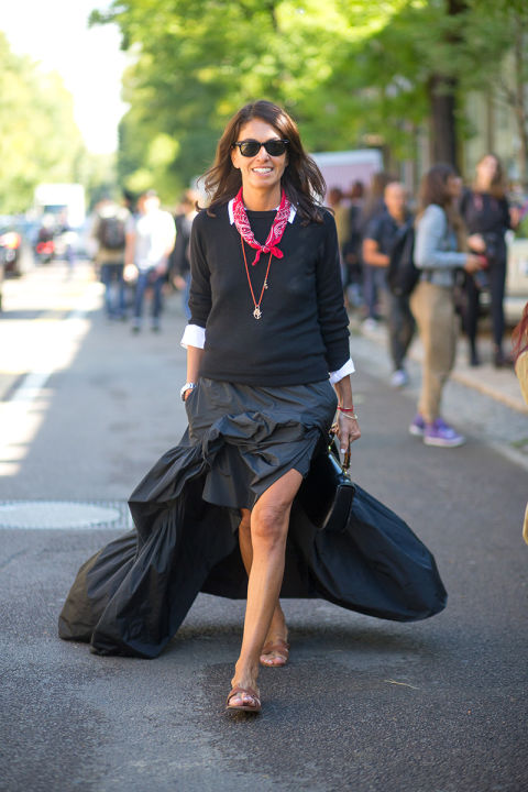 all black -red bandana-pendant-white oxford-slides-tan slides-ruffled maxi dress-milan fashion week street style-via hbz