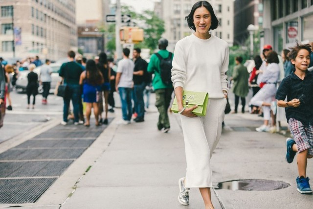 all white-culottes-sneakers-white on white-cream ivory-fall outfits work brunch outfit-eva chen-nyfw-fall outfits-via-racked