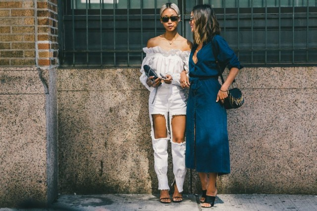 all white-white after labor day-ripped jeans-off the shoulder shirt-denim shirt dress-maxi midi dres-nyfw-fall outfits-via-racked