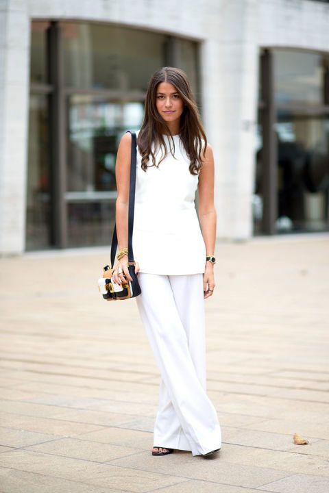 how to wear white wide leg pants, amanda weiner