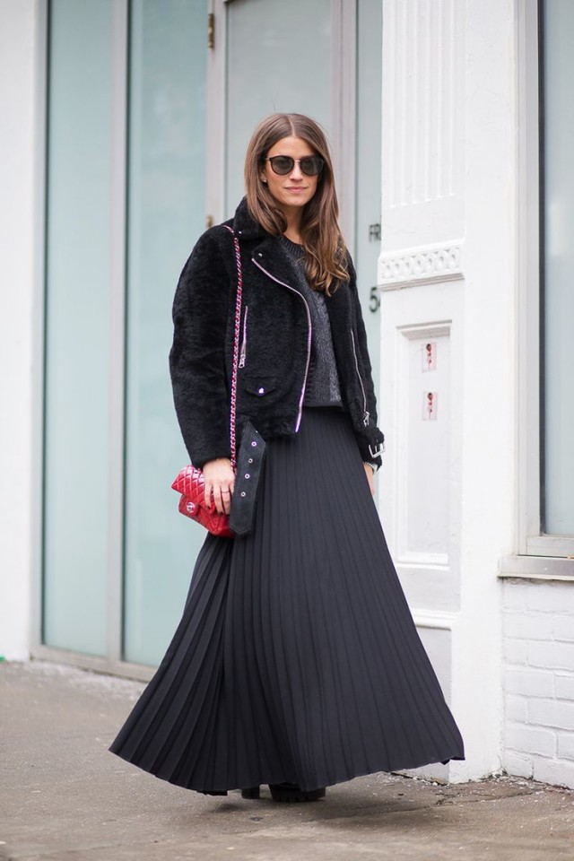 black maxi skirt in winter, amanda weiner, shearling moto jacket