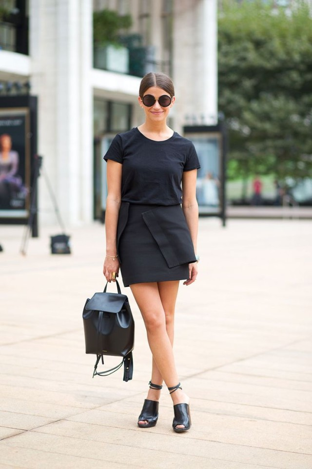 amanda weiner-editor style-style profiles-black tee wrap mini skirt backpack hbz
