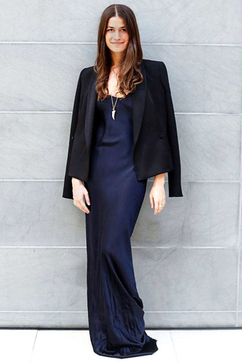 new year's eve outfit, black tie outfit, navy slip dress and black tuxedo jacket, amanda weiner