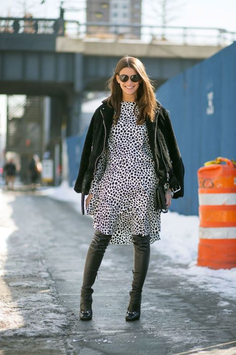 harpersbazaar.com, amanda weiner, printed dress, over the knee thigh high boots, winter work outfit, black moto jacket, fall jacket